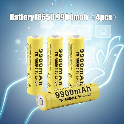 4x9900mah 3.7V 18650 Li-ion Rechargeable Battery For LED Flashlight Torch Lamp