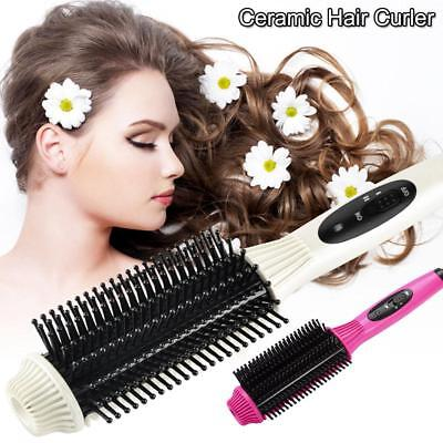 2 in 1 Electric Fast Hair Straightener Curling Styling Brush Comb Curler Tool L0
