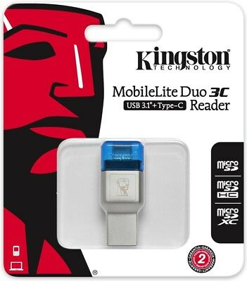Kingston FCR-ML3C USB 3.1 A Type C Mobilite Duo 3C microSD SDHC SDXC Card Reader