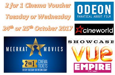 2 for 1 Cinema Tickets Voucher Code for Tuesday 24th or Wednesday 25th October