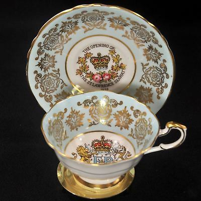 Paragon Footed Cup & Saucer 1959 Royal Visit St. Lawrence Seaway Canada w/Gold