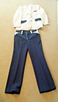 Vintage 70's Cream and Blue Men's Suit (M)