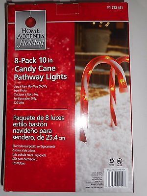 Set of 8 Home Accents 10 inch Pre-Lit Candy Cane Pathway Lights Stakes New