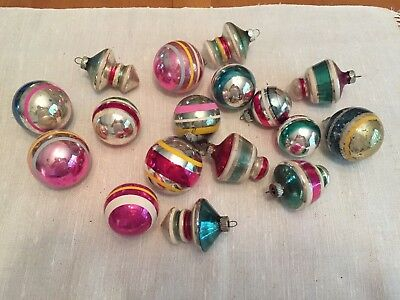 Lot of 17 vintage striped SHINY BRITE  Glass Ornaments including some atomics