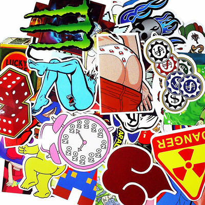 50 Pieces Cartoon Clock Girl Phone Bed Cup Bike Skiing Home Decors Sticker Decal