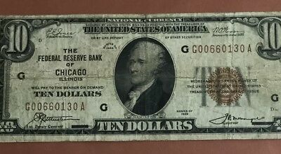 1929 $10 Brown Seal National Currency Chicago X130 FINE! Old US Paper Currency
