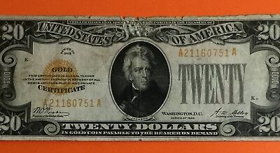 """1928 $20 """"GOLD CERTIFICATE"""" X751 High in Demand! Old US Paper Currency"""