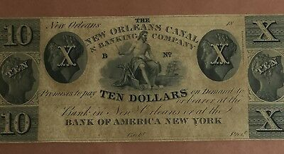"1861 $10 US Choice Crisp AU ""NEW ORLEANS"" LOUISIANA LARGE SIZE Currency"