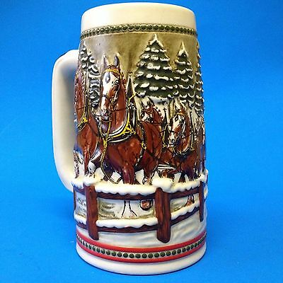 Budweiser Limited Edition 1984 -CLYDESDALE Horses Christmas Stein - Collectible