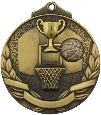 Basketball Two Tone 3D 50mm Diameter Medal Inc Neck Ribbon / Engraving