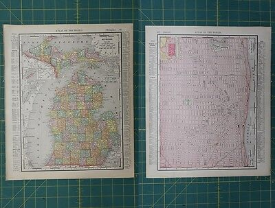 Michigan Detroit Vintage Original 1896 Rand McNally World Atlas Map Lot