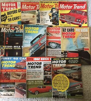 Lot of 11 Vintage Motor Trend Auto Magazines Various Years 1955 1959 1960 1961