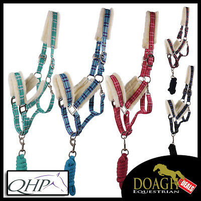 QHP Fur Headcollar and Lead Rope Matching Set (Pony/Cob/Full) **NEW**