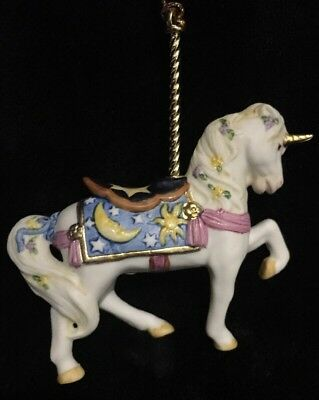 Vintage Lenox Carousel Ornament White Horse with Purple Flowers