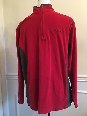 Men's Columbia 1/4 Zip Pullover Lightweight Fleece Red Jacket Gray  Medium M