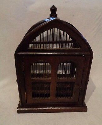 Vintage Wood Metal Wire Bird Cage Cathedral Top
