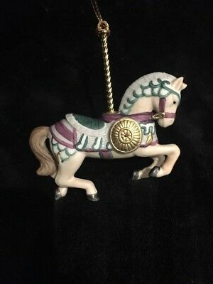 Vintage Lenox Carousel Ornament Beige Horse with Green Saddle
