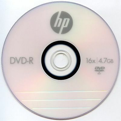 50 PCS HP 16X Logo Blank DVD-R DVDR Recordable Disc Media 4.7GB In Paper Sleeves