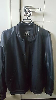 Men's bomber jacket with leather sleeves size M