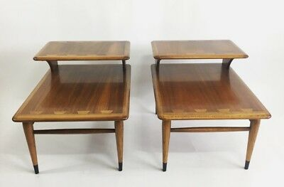 Mid Century Modern Vintage Two-Tiered Lane  Dovetail End Table Pair