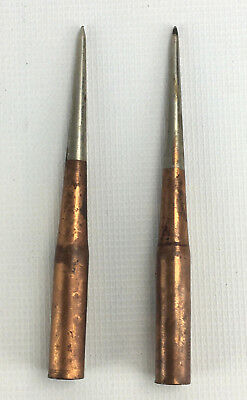 Lot of 2 Metal and Copper Lightning Rod Tips Dodd & Struthers
