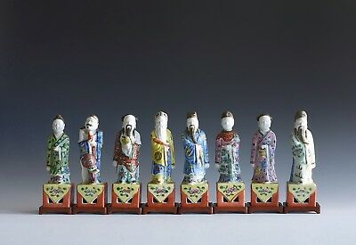 An Antique Set of 8 Chinese Porcelain Famille Decorated Immortal Figures