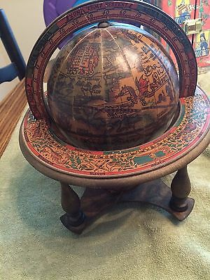 Vintage Olde Old World Wooden Disk Spinning Globe Zodiac Made In Italy
