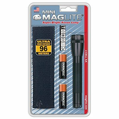 Maglite Mini Incandescent 2-Cell AA Flashlight with Holster, Black M2A01H MagLit