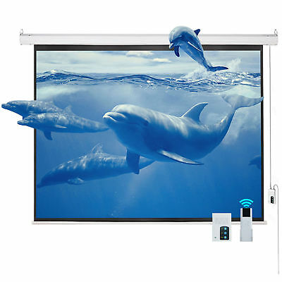 """120"""" 4:3 HD Matte Electric Projector Screen Wall Mounted Ceiling Remote Control"""