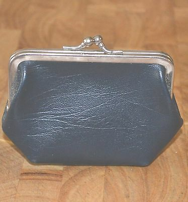 Vintage Retro 1960's Cute Little Clasp Navy Blue Coin Purse