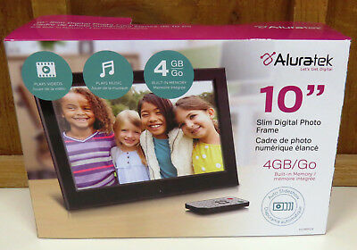 Digital Photo Frame By Aluratek with 4GB Built-in Memory 10 inch Slim NEW