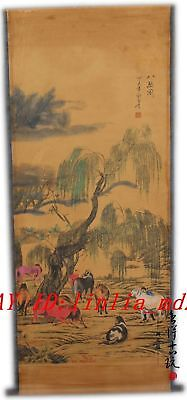 Chinese old  hand painting Paper scroll eight horses Willow A1