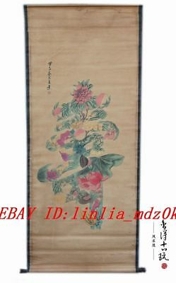 Chinese  hand painting Paper scroll Flower Peach Lotus Longevity SHOU A12