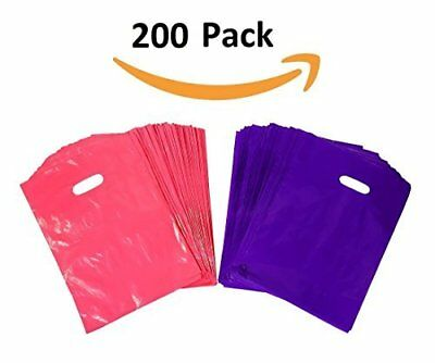 200 Purple and Pink Glossy Merchandise Bags, Shopping Bags, 9� X 12� with