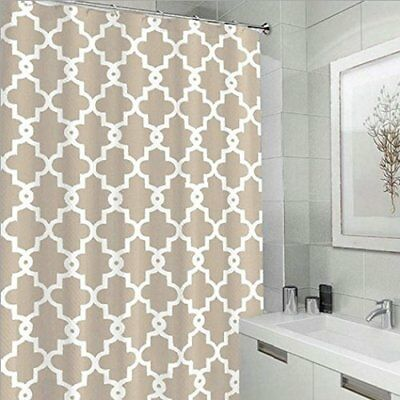 Eve Split Geometric Patterned Water Repellent Fabric Shower Curtain