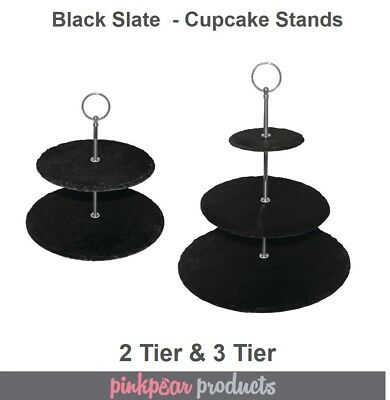 2 Tier & 3 Tier Black Slate Afternoon Tea Stand Cupcake Cake Stand Dessert Table