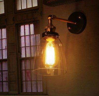 Vintage Industrial Rustic Wall Sconce Light Ceiling Glass Bell Wall Lamp Shade