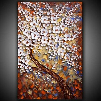 IARTS Hand Painted Oil Painting Unframed Canvas 3D Art Work White Flowers Decor