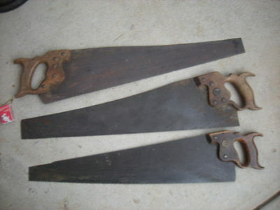 3 x Vintage Hand SAWS Saw - J. TYZACK, DISSTON, SUPERIOR - Medium, Small Teeth