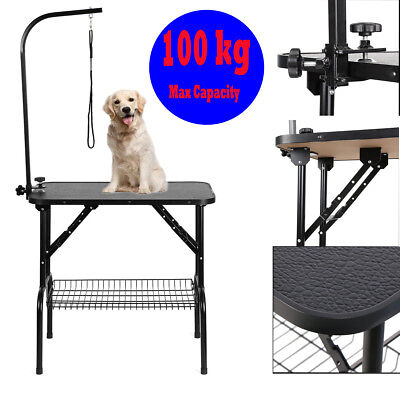 Foldable Pet Dog Grooming Table Adjustable Arm Non Slip Surface Portable Black