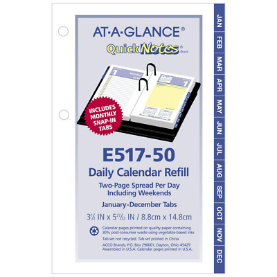 AT-A-GLANCE Daily Desk Calendar Refill, QuickNotes, January 2018
