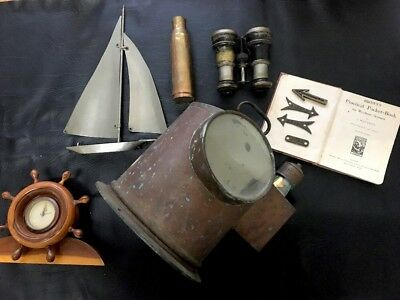 Vintage Ships Brass Binnacle Bridge Sailing Navy Maritime WW2 Wreck Original Lot