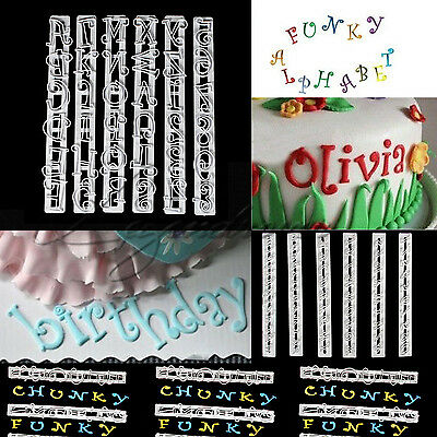 6PCS Alphabet & Number Letter Cake Decorating Set Fondant Candy Cutter Mould AU