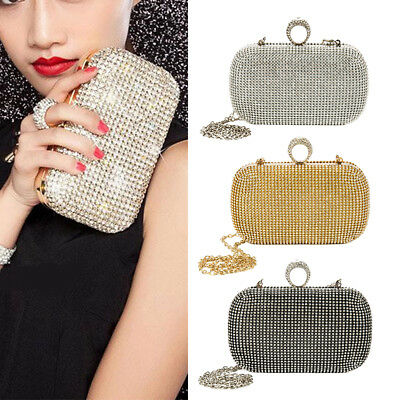 Women Glitter Shimmer Clutch Bag Ladies Wedding Party Chain Purse Evening Bag AU