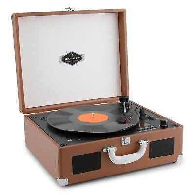 Compact Vinyl Record Player Usb Cd Stereo Speaker Headphone Output Brown Case