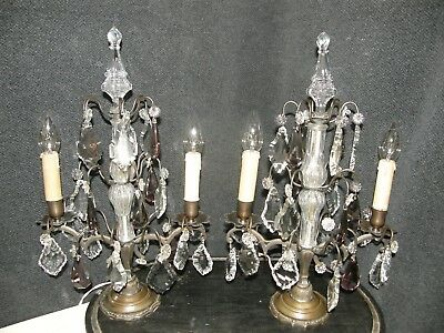 Pair Of Fabulous French Antique Girandole Chandelier Table Lamps.