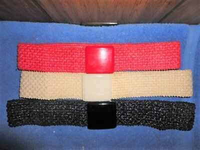 lot of 3 vintage stretch elastic belts - Red, Black & Beige