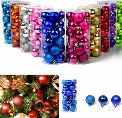 2/3/4cm 14x Baubles Decor Balls Glitter Ornament Hanging Christmas Xmas Tree W&T