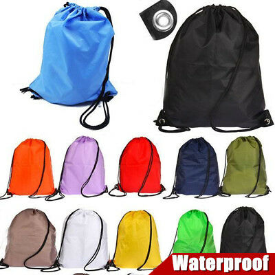 Premium School Drawstring Duffle Bag Sport Gym Swim Dance Shoe Backpack D1