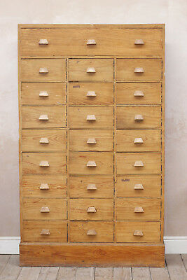 Large Vintage Rustic Mid Century French Haberdashery School Wooden Cabinet